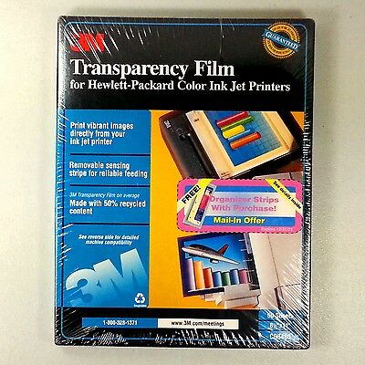 3M Transparency Film For HP Ink Jet Printers CG3460 New Factory Sealed 50 Sheet