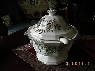 Hand Painted Pottery Soup Tureen with Ladle