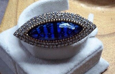 925 Silver Handcraft Jewelry Sublime Asian Blue Sapphire Ladys Ring Sz 7.5