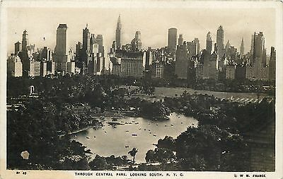 New York City~Central Park-Skyscrapers~Boats on Water~1930s Wm Frange Real Photo