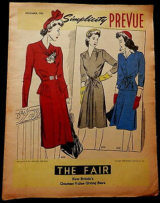 PREVUE - SIMPLICITY FASHIONS Advertising THE FAIR New Britain Flyer Novembe 1942