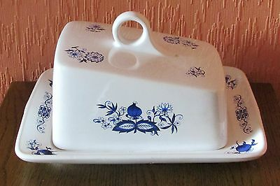 Vintage Price & Kensington Large Blue/White Earthenware Cheese Dish & Cover.