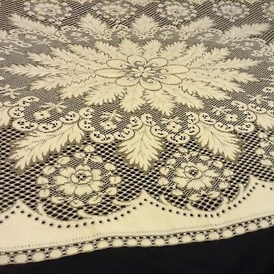 "Elegant 2-tone LACE TABLECLOTH Roses & Fronds 75x42"" COTTON Made in England NICE"
