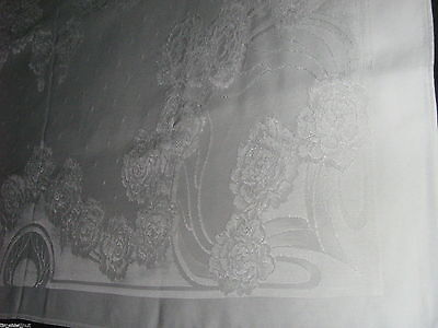 Elegant DOUBLE DAMASK White TABLECLOTH  49.5X49.5in ROSES Only Used X1 - NICE!
