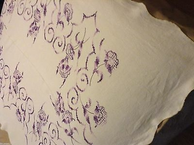 """Nice LINEN TABLECLOTH Hand Embroidery MAUVES FLORAL 63x47"""" scalloped edge"""