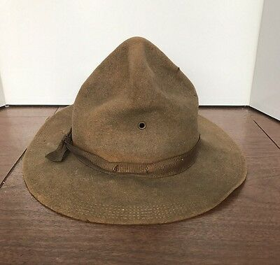 Vtg WWI WW1 US Army Campaign Soldier Infantry Hat Officer General Green Ribbon