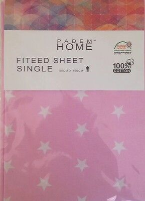 Pink Single Fitted Sheet Cotton 100% Cotton 90 cm/190 cm Kids Bedding Quality