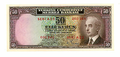 Turkey … P-133 … 50 Kurus … L.1930 … (~) *UNC* ... Low Serial ( 3 digits).