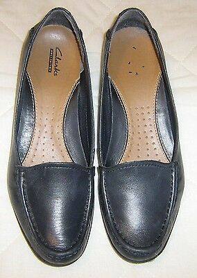 Navy blue leather loafers by Clarks Collection Size 6  VGC