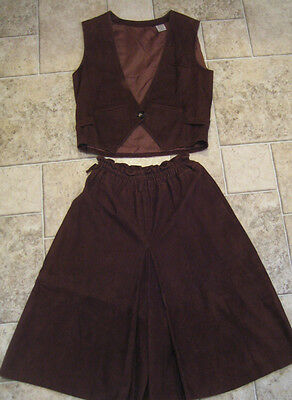 Vtg 70s PANCALDI Brown Chamois Suede Leather Vest Culotte Set Skirt Suit Italy