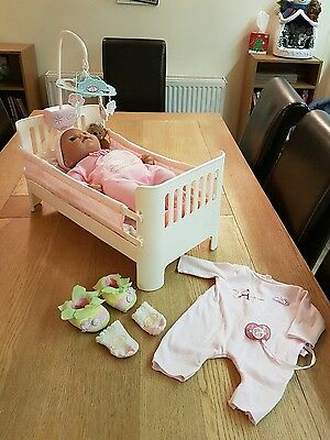 Baby Annabell Doll with Cot with Bedding and Musical Mobile