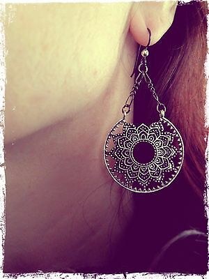 Mandala Symbol Boho Chic Tribal Style Earrings from India Pretty Urban Hippie
