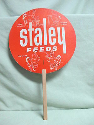 Vintage Staley Feeds Farm Animals ADVERTISING PAPER FAN