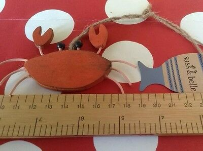 wooden seaside hanging decor wooden crab beach decoration sasse and belle