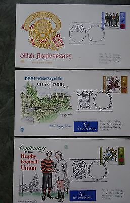 GB  1971 British Anniversaries 3 FDCs  with Special First Day of Issue Postmark