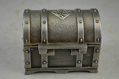China Handwork Miao Old Silver Carving Decorated Lock Rare Delicate Jewel Box NA