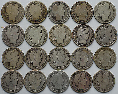 1898-1915 Barber Half Dollar Silver Roll 20 Coins P D S Circulated