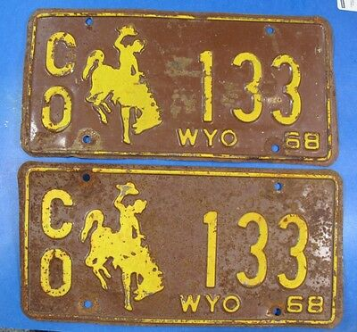 1968 Wyoming County-Owned License Plate Co-133 Pair                       Ul3959