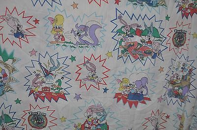 TINY TOON ADVENTURES vintage FLAT BED SHEET 1996 Warner Brothers/Looney Tunes