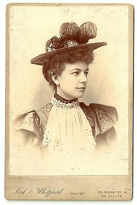 Victorian cabinet card photo young woman exotic hat London photographer