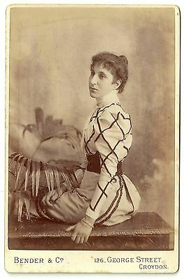 Victorian cabinet card photo young woman patterned blouse  Croydon photographer