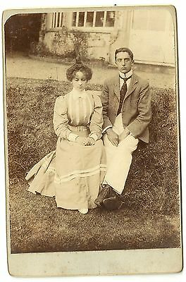Victorian cabinet card photo young couple outdoors unstated photographer