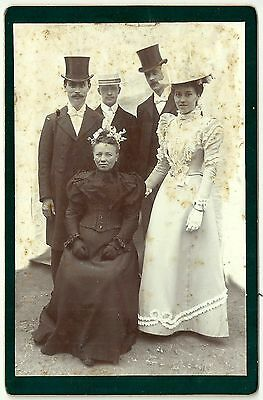 Victorian cabinet card photo well dressed group of people unstated photographer
