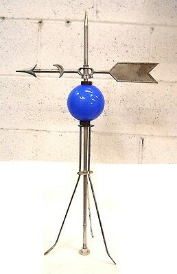 Vintage Moon Arrow antique WeatherVane and ball with new Lightning Rod and Stand