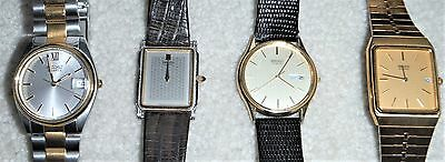 LOT OF 4 MENS Preowned SEIKO WATCHES - NEED BATTERIES