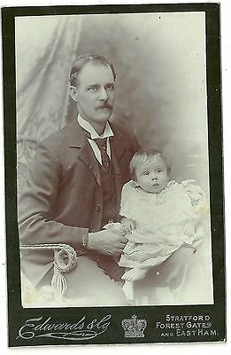 Victorian cabinet card photo man with  moustache & baby London photographer