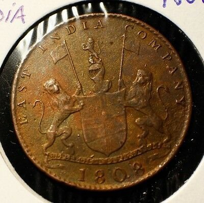 1808 Madras Presidency British East India Company X Ten Cash Copper XF