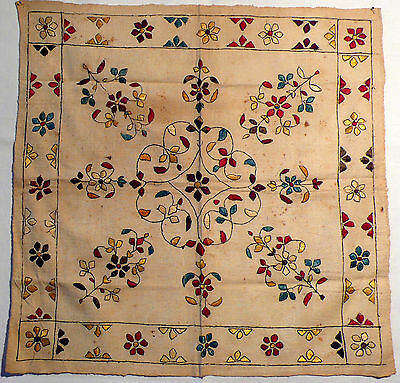 Coverlet, folk silk embroidery, rumal, Chamba Valley, India
