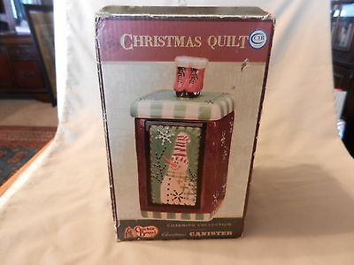 Christmas Quilt Ceramic Canister from Cracker Barrel Snowman