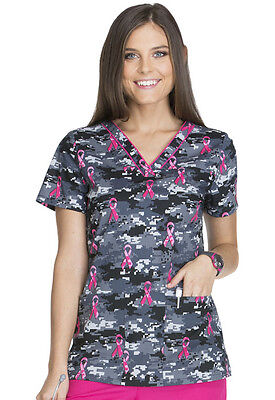 Scrubs Dickies Print Top Fight For The Cure DK709 FICR FREE SHIP!