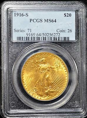 1916-S $20 Saint-Gaudens Double Eagle - PCGS  MS64 Gold