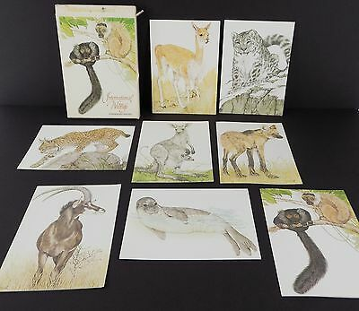 Vintage Current Stationary International Wildlife 8 NOTE CARDS Linda K Powell