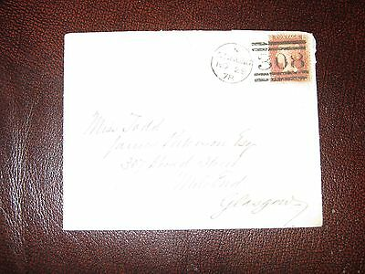 1d plate no 197 on cover to glasgow with sterling 308 barred cancel
