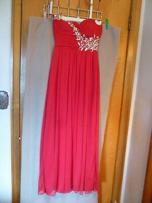 Bright Red Full length Gown with bling--Size 5