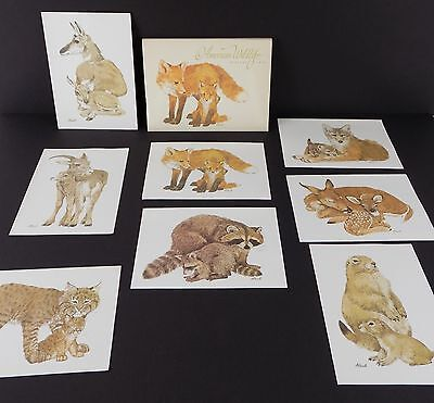 Vintage Current Stationary AMERICAN WILDLIFE  Ecology 8 CARDS Linda K Powell