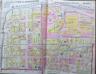 1900 McKEESPORT, PITTSBURGH, PA, NATIONAL TUBE COMPANY COPY PLAT ATLAS MAP