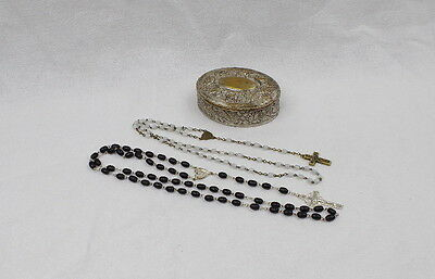 Antique Pocket Shrine,Silver Plated Box, 2 x Rosary,