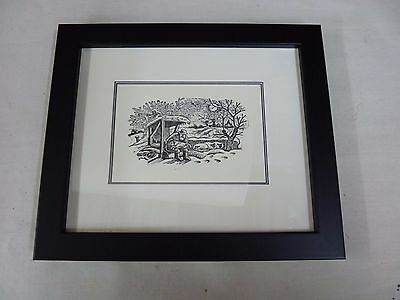 Framed Linocut print of a Shepherd with sheep by Peter Firmin
