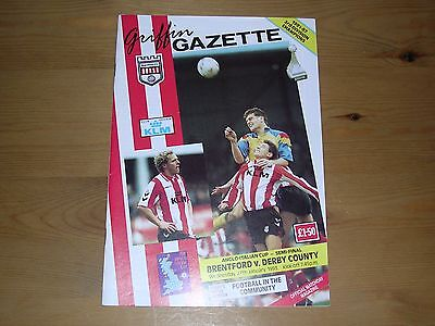1992/93  BRENTFORD v DERBY COUNTY  ANGLO-ITALIAN CUP SEMI-FINAL  27/01/1993