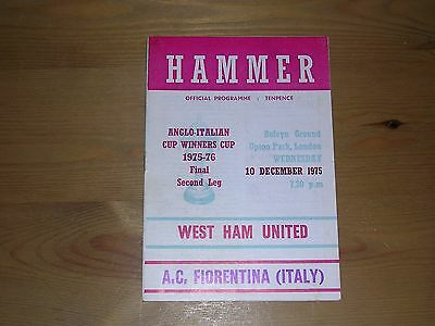 1975/76  WEST HAM UNITED v A.C.FIORENTINA  ANGLO-ITALIAN CUP WINNERS CUP FINAL