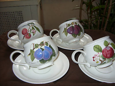 Portmeirion Pomona Set Of 4 Largest Size Romantic Cups & Saucers Very Rare Mint!