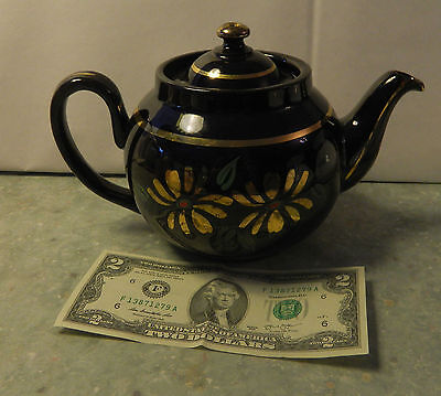 L B England Teapot #1718 Beautiful Brown w/Gold, Green & Red Flowers with Lid