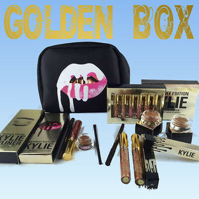 """►best """"KYLIE GOLDEN BOX"""" 8pc/lot! Gift Gloss liner Collection(kyliner cosmestic)"""