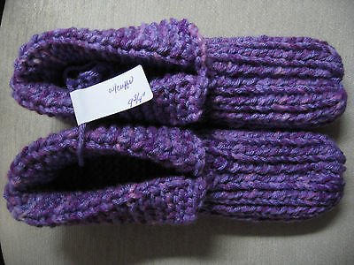 """New Hand Knitted House Slippers w/Cuffs Purple Tones Wms Lg Mans Med 9 3/4"""""""