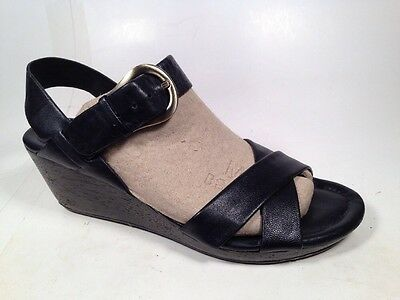 Cole Haan Nike Air Sandals Wedge Ankle Strap Black Leather Women's Sz 11