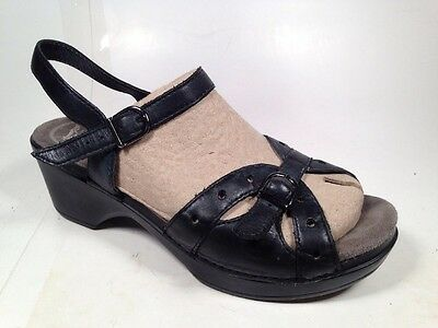 Dansko Women's Sandals Sz 39 = 8.5-9 Sissy Black Shoes Buckle Straps  E154